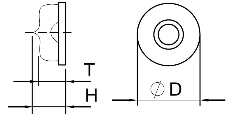 There is a schematic diagram of glass circular bubble level vials to show which are D, T and H.