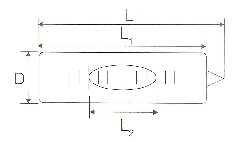 There is a schematic diagram of general precision glass bubble level vial to explain which are D, L, L1, L2.