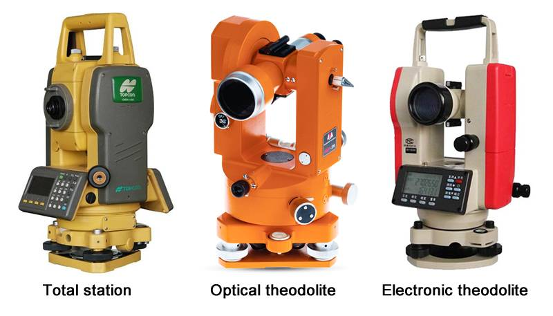 There is a yellow total station, a orange optical theodolite and a electronic theodolite.