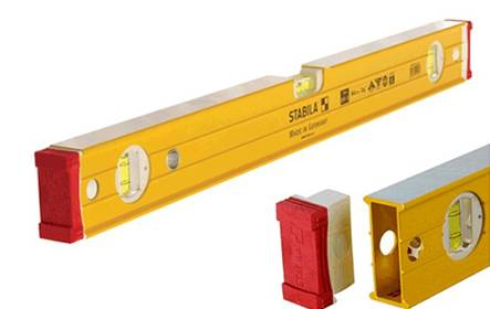 There are two piece of leveling ruler with several pieces of spirit level vials.