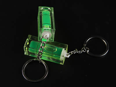 There are two plastic tubular bubble level vial with the key chain.